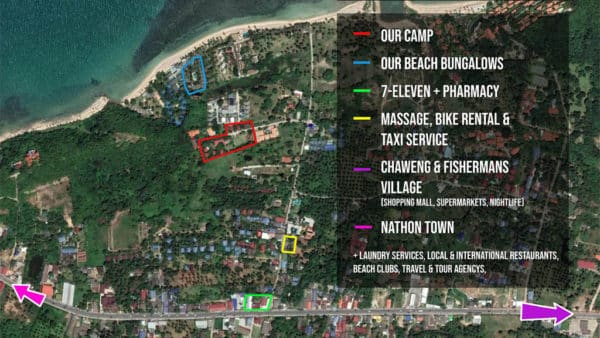 FitKoh Camp Map - Fitness Holiday Koh Samui - Thailand - Fitness Holidays for Travelling Athletes