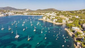 Aerial view, view of the bay of Santa Ponsa with sailing yachts, Santa Ponca, Mallorca, Balearic Islands, Spain