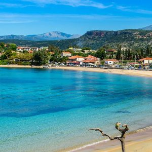 Stoupa is a seaside village of Mani,located along two bays with